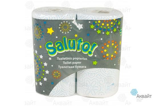 Туалетная бумага Saluto (4шт.\уп.) (14шт.\кор.) 2сл, белая